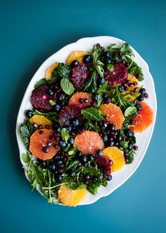 Baby Kale Baby Kale Salad with Oranges, Blueberries and Pomegranate