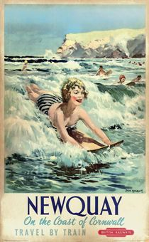 Love seeing vintage posters for Newquay. No wetsuits in sight back then! Jack Merriott NEWQUAY offset lithograph in colours, 1954 Posters Uk, Railway Posters, Surf Posters, British Travel, British Seaside, Vintage Advertisements, Vintage Ads, Vintage Surf, Gravure Illustration