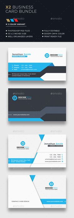 Corporate business card bundle made for companies or personal use. FEATURES CMYK Color Print ready Horizontal in with bleeds Fully layered and easy customizable PSD fileFont used: MontserratHere you can find each item individually:Item 1 Item 2 Elegant Business Cards, Custom Business Cards, Business Postcards, Visiting Card Design, Presentation Cards, Name Card Design, Letterhead Design, Stationary Design, Geometric Logo