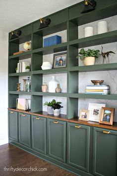 Wall of office built in bookcases REVEAL! Wall of office built in bookcases REVEAL! from Thrifty Decor Chick Built In Shelves Living Room, Bookshelves Built In, Bookshelf Design, Ikea Billy Bookcase, Bookshelf Ideas, Living Room Storage, Diy Bookshelf Door, Painted Bookcases, Painted Built Ins