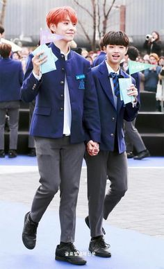 Eunsang with Dongpyo. They have the same age, but look at the height difference xD Lee Dong Wook, Dsp Media, K Pop Star, Kpop, Produce 101, Hyungwon, K Idols, New Music, Cute Boys