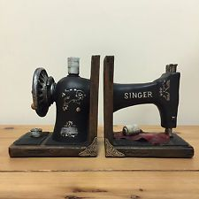 Vintage Singer Sewing Machine Bookends Beautiful Heavy Vintage Kitchen NEW 12503