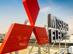 Exterior corporate identity signage Mitsubishi Electric]