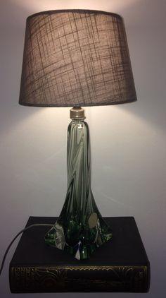 Cute Val Saint Lambert crystal lamp in emerald green