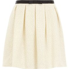Ivory boucle skirt ($29) found on Polyvore