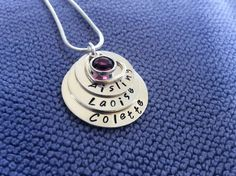 Sterling silver Mum of three stacked chain hand stamped with Mums birthstone and open heart Gifts For Mum, Hand Stamped, Birthstones, Washer Necklace, Personalized Gifts, Sterling Silver, Chain, Heart, Jewelry