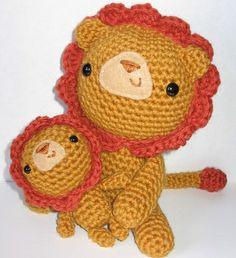 "Baby Lion & Dad  Pattern in ""Amigurumi World: Seriously Cute Crochet"" by Ana Paula Rimoli"