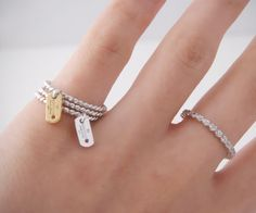 925 SILVER G TAG DANGLE CHARM STACKABLE RINGS SET by kellinsilver