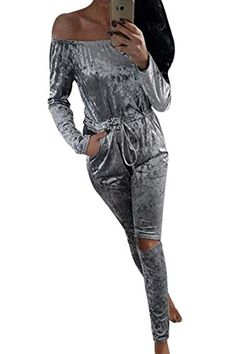 4f66b7f4126e Womens Fashion Velvet Long Sleeve Drawstring Knee Hole Pants Jumpsuit  Rompers US812 Grey   Click on