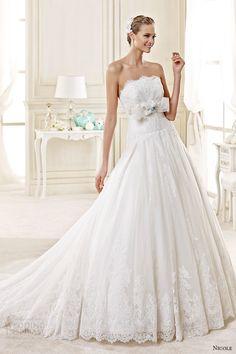 nicole spose bridal 2015 style 35 niab15030ivtf strapless straight across a line wedding dress