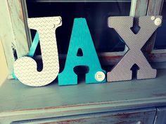 Custom letters! Gray & aqua nursery