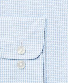 Tasso Elba Men's Classic/Regular Fit Non-Iron Blue White Large Houndstooth Dress Shirt, Only at Macy's - Blue 15.5 34/35