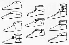 Various shoe styles found at the Viking-age trading town of Hedeby. Viking Shoes, Viking Garb, Viking Dress, Viking Footwear, Norse Clothing, Medieval Clothing, Asian History, British History, Tudor History