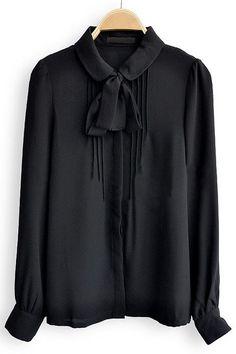 Black Bow Front Peter Pan Collar Pintucks Chiffon Shirt