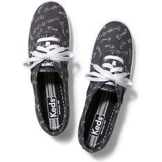 Keds Champion Back to School ($35) ❤ liked on Polyvore featuring shoes, sneakers, black, black trainers, kohl shoes, flexible shoes, black sneakers and black shoes