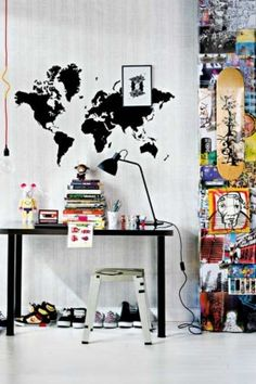 funky teen desk space