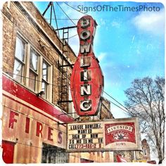 """""""Fireside Bowl""""    Beautiful 8""""x8"""" square print of the Fireside Bowl sign in Logan Square, Chicago, Illinois"""