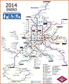 For all those travelling to Madrid, we have prepared the definitive guide for its Metro. According to Wikipedia, Metro de Madrid is Europe's second metro system by extension and the seventh in the world. Plano Metro Madrid, Underground Map, Madrid Travel, Metro Map, Romantic Breaks, Subway Map, Tourist Map, U Bahn, Spain And Portugal