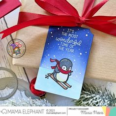 mama elephant | design blog: STAMP HIGHLIGHT: Penguins Go Skating Elephant Design, Mama Elephant Cards, Holiday Messages, Slider Cards, Warm Fuzzies, Skating, Cute Penguins, Highlight, Card Tags
