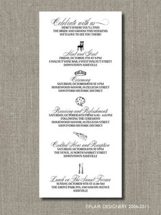 Items similar to Custom Agendas for Weddings, Events, Parties and More - You Choose Your Colors and Fonts - by Abigail Christine Design on Etsy Cruise Wedding, Hotel Wedding, Wedding Events, Our Wedding, Wedding Weekend, Wedding Reception, Wedding Ideas, Weddings, Hotel Welcome Bags