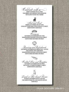 wedding agenda template 6. custom wedding schedule guest itinerary ...