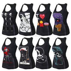 Women s Digital Print Tank Top Blouse Gothic Punk Clubwear Sleeveles Tees U90