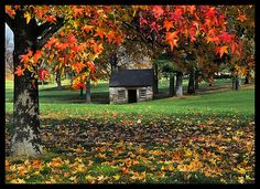 The Spring House in Fall by Bridges.  Spring house located on the Grace course of Saucon Valley CC., Bethlehem, PA