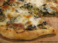 Swiss Chard Artichoke 'White' Pizza...  works well with any sort of greens + sauted or roasted veggie (onion, fennel, etc)