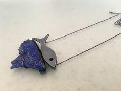 "Montserrat Lacomba ""G. in a Deep Blue"" Pendant. Silver and lapis lazuli. 55 x 60 x 14 mm | Architect's Fashion"
