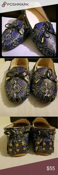 🎉HP🎉 Cole Haan Purple Snakeskin Driver Loafers Never worn. Purple Snakeskin. Shoes Flats & Loafers
