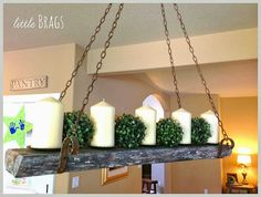 Reclaimed Wood Candle Chandelier By Little Brags Featured On Http Www Ilovethatjunk