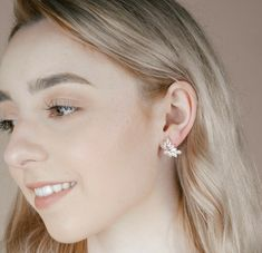 Chloe Stud Bridesmaid Earrings - Wink of Pink Shop Wedding Jewelry Moon Earrings, Rose Gold Earrings, Star Earrings, Silver Hoop Earrings, Rose Gold Bridal Jewelry, Wedding Jewelry, Silver Jewellery, Fine Jewelry, Bridesmaid Earrings