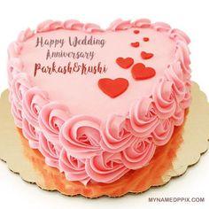 Name Wishes Happy Wedding Anniversary Cake Image