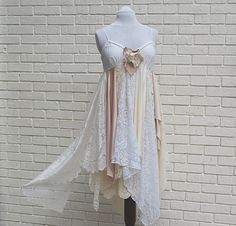 Wedding Dress, Formal, Shabby, Tattered Fairy Woodland Slip Dress, Boho, Hippie, Gypsy, Eco Earth Friendly, Upcycled Clothing. $105.00, via Etsy.