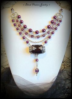 JESSABELLA Hand-Made Gothic Victorian Filigree Wrapped Vintage Glass Gem Necklace with Plum Faux Pearls http://bloodflowersjewelry.storenvy.com/