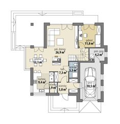 Hermiona Nowa Micro House, Floor Plans, How To Plan, Houses, Model, House Ideas, Detached House, Projects, Homes
