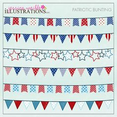 Patriotic Bunting Cute Digital Clipart for Card Design, Scrapbooking, and Web Design, 4th of July Banner
