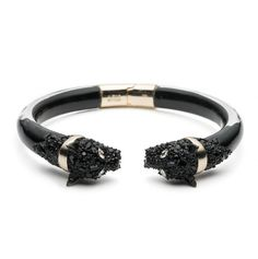 Purchase Crystal Encrusted Chained Panther Hinge Bracelet featured by Alexis Bittar in black. Silver Bracelets, Bangle Bracelets, Bangles, Silver Jewelry, Bb Style, Fashion Jewelry, Women Jewelry, Bracelet Designs, Handcrafted Jewelry