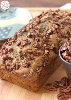 Maple Pecan Banana Bread made with no oil or butter from A Kitchen Addiction