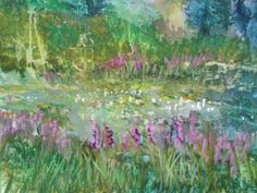 """LILY POND JOY WATERCOLOR on YUPO PAPER Millie gift Smith 26""""/20 """"Lovely happy"""