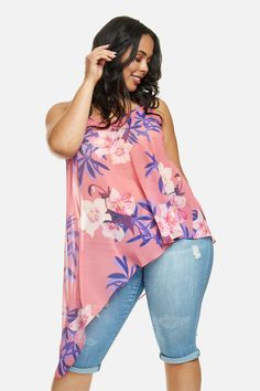 c95eaa23 Aloha Asymmetrical Sleeveless Plus Size Top Plus Size Blouses, Plus Size  Tops, Plus Size