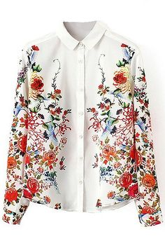 Red Floral and Birds Print Lapel Long Sleeve Shirt