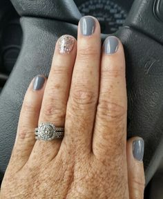 "My new favorite mani for fall...Gelish ""Clean Slate"" and ""Water Field"""