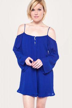 Always And Forever Cobalt Cold Shoulder Dress
