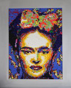"""""""Frida"""" costrucción de Cubos de madera de 1 cm sobre madera porcion 150cm por 120cm"""