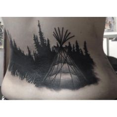 Forest Nature Tent Teepee black work black and gray Tattoo by Cody Brigan