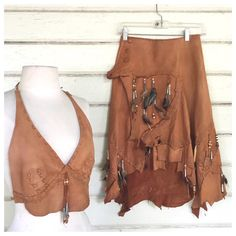 Cut Up Shirts, 70s Shirts, Hippie Outfits, Indian Outfits, Indian Clothes, Boho Fashion, Native Fashion, Wild Fashion, Leather Halter