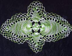 Vintage Hand Crocheted Doily Pineapple Variegated Green Unusual Shape Nice