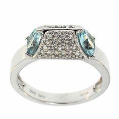 3.12 Cttw G VS Round Diamonds Pear Aquamarine Cocktail Ring 14K White Gold #Cocktail #Diamonds #Pear #AquaMarine #Ring #14K #White #Gold #Christmas #Gift #Holiday