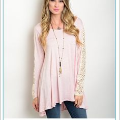 ✨HOST PICK 5/28✨super cute top❤️ pink cream crochet! super cute with jeans or leggings!!!:) all New! I'm starting my own boutique! Tops Tunics